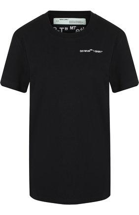 Хлопковая футболка с круглым вырезом и логотипом бренда Off-White черная | Фото №1