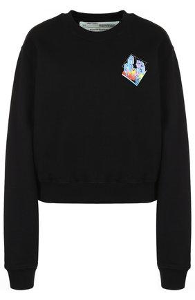 Хлопковый пуловер с круглым вырезом и принтом Off-White черный | Фото №1