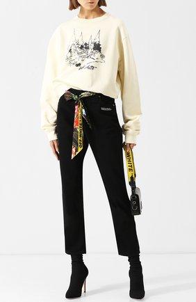 Хлопковый пуловер с круглым вырезом и принтом Off-White белый | Фото №1
