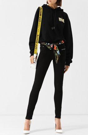 Хлопковый пуловер с капюшоном и принтом Off-White черный | Фото №1
