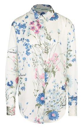 Женская блуза с цветочным принтом и логотипом бренда Off-White, цвет разноцветный, арт. 0WGA031E18B170310199 в ЦУМ | Фото №1