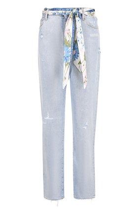 Укороченные джинсы прямого кроя с поясом Off-White голубые | Фото №1