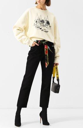 Укороченные джинсы прямого кроя с поясом Off-White черные | Фото №1