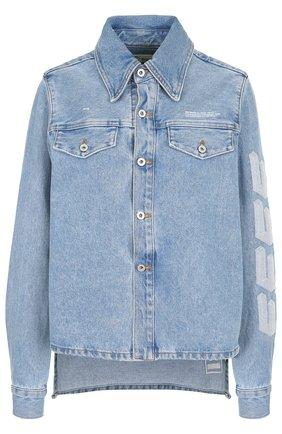 Джинсовая куртка с потертостями Off-White синяя | Фото №1