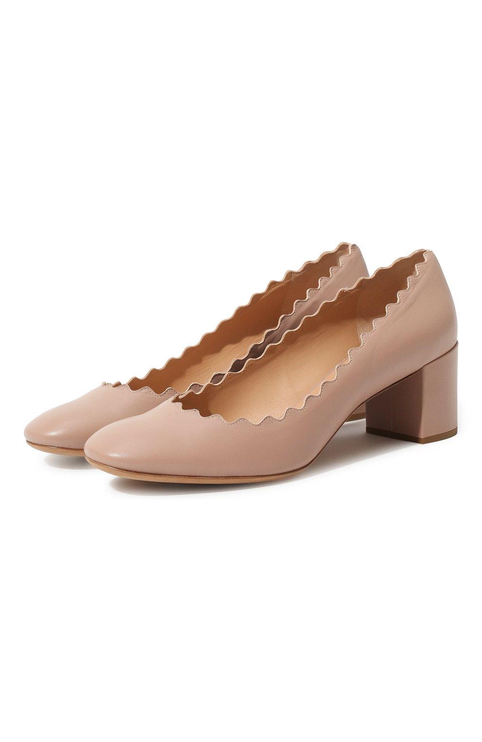 Женские кожаные туфли lauren с фигурным вырезом CHLOÉ бежевого цвета, арт. CHC16A23075 | Фото 1