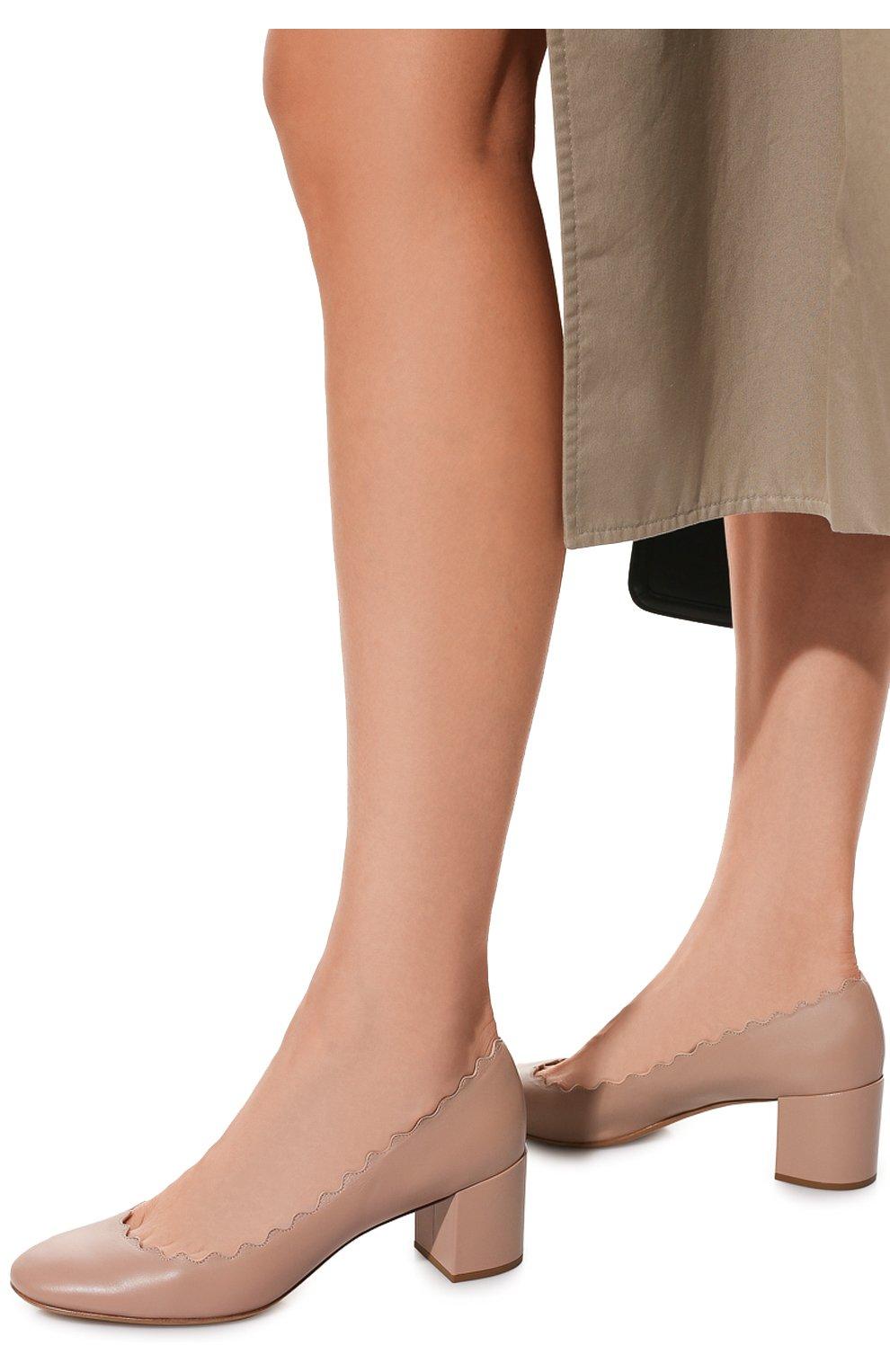 Женские кожаные туфли lauren с фигурным вырезом CHLOÉ бежевого цвета, арт. CHC16A23075 | Фото 3