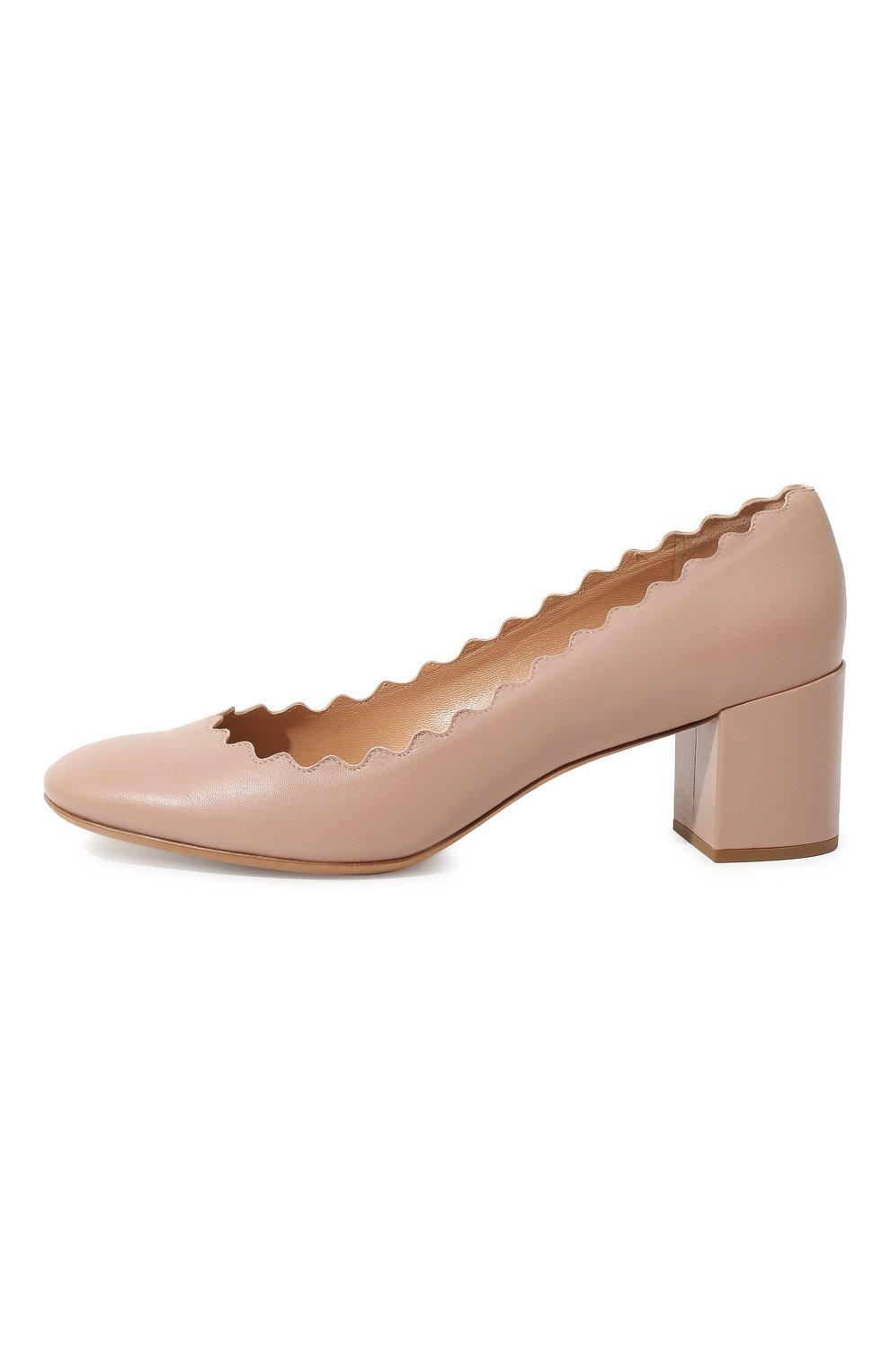 Женские кожаные туфли lauren с фигурным вырезом CHLOÉ бежевого цвета, арт. CHC16A23075 | Фото 4