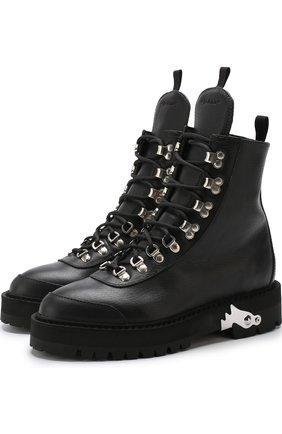 Кожаные ботинки на шнуровке с отделкой Off-White черные | Фото №1