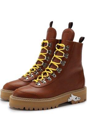 Кожаные ботинки на шнуровке с отделкой Off-White бежевые | Фото №1