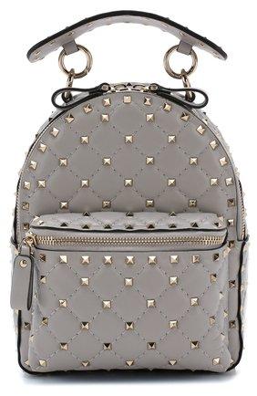 Женский рюкзак valentino garavani rockstud spike mini VALENTINO светло-серого цвета, арт. QW1B0B63/NAP | Фото 1