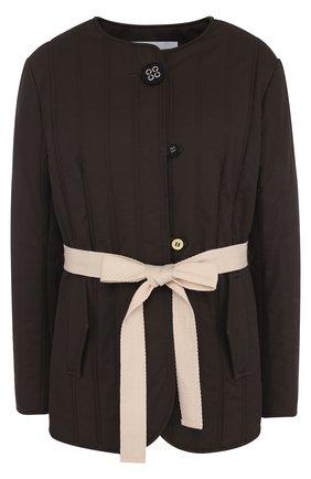 Стеганая куртка с контрастным поясом   Фото №1