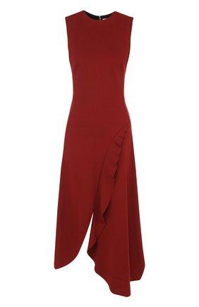 Приталенное платье-миди с круглым вырезом и оборками Victoria Beckham бордовое | Фото №1