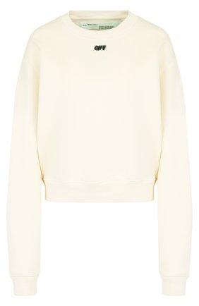 Хлопковый пуловер с круглым вырезом и декоративной отделкой Off-White черно-белый | Фото №1