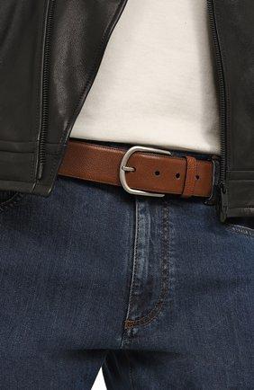 Мужской кожаный ремень с металлической пряжкой BRIONI коричневого цвета, арт. 0BZA0L/07733 | Фото 2