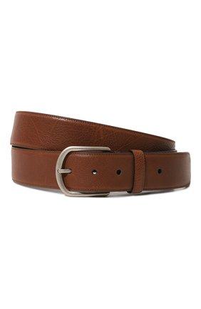 Кожаный ремень с металлической пряжкой Brioni коричневый | Фото №1