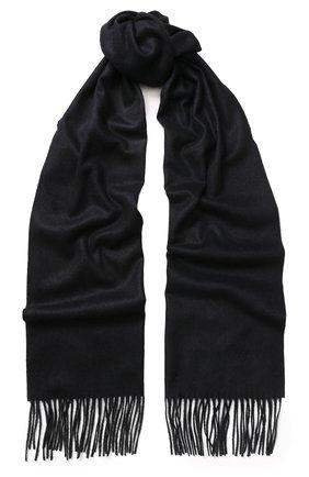 Мужской шарф из смеси кашемира и шелка с бахромой BRIONI темно-синего цвета, арт. 03QH00/0741Q   Фото 1