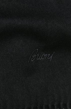 Мужской шарф из смеси кашемира и шелка с бахромой BRIONI темно-серого цвета, арт. 03QH00/0741Q   Фото 2