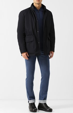 Мужские высокие кожаные кеды на шнуровке с внутренней меховой отделкой BRIONI черного цвета, арт. QHGD0L/07730 | Фото 2