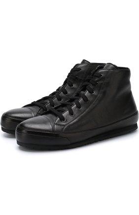 Высокие кожаные кеды на шнуровке с внутренней меховой отделкой Brioni черные | Фото №1