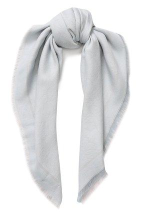 Платок из смеси шерсти и хлопка с шелком Giorgio Armani голубой | Фото №1