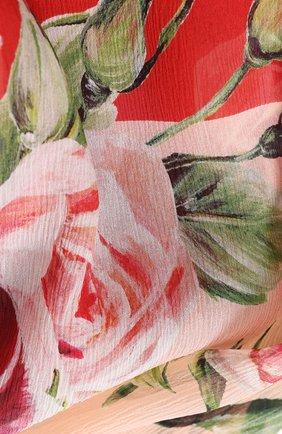 Шелковый шарф с цветочным принтом Dolce & Gabbana коралловый | Фото №2