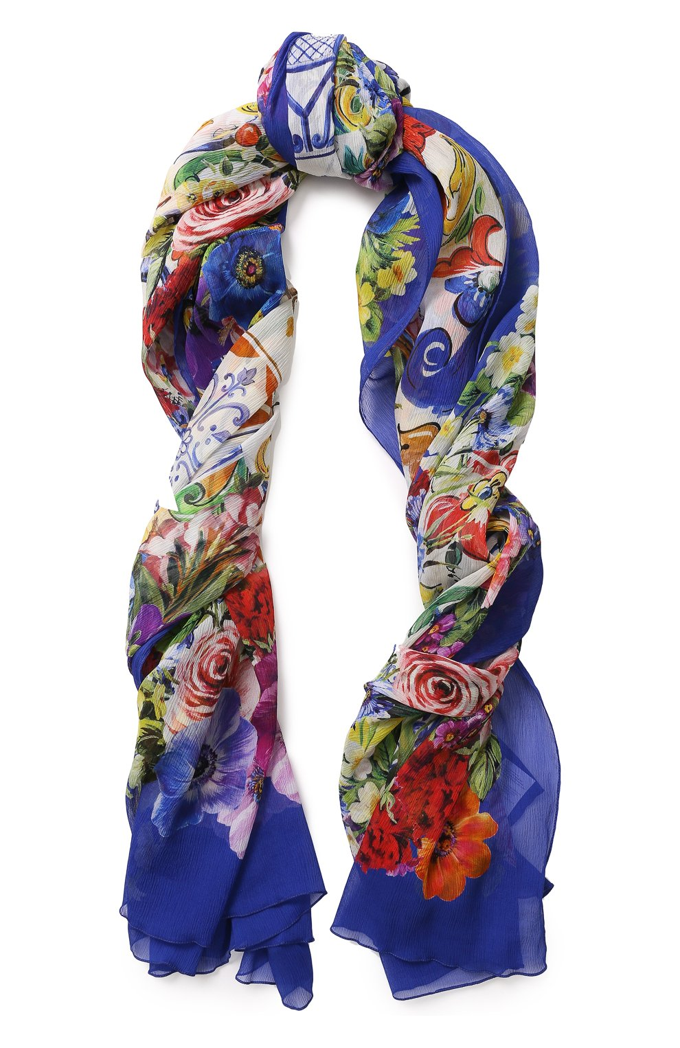 Шелковый шарф с цветочным принтом   Фото №1