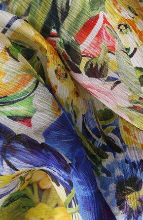 Шелковый шарф с цветочным принтом Dolce & Gabbana синий   Фото №2