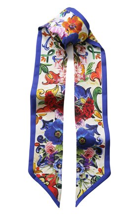Шелковый шарф-бандо с цветочным принтом | Фото №1