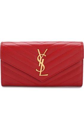 Кожаное портмоне Monogram Saint Laurent красного цвета | Фото №1