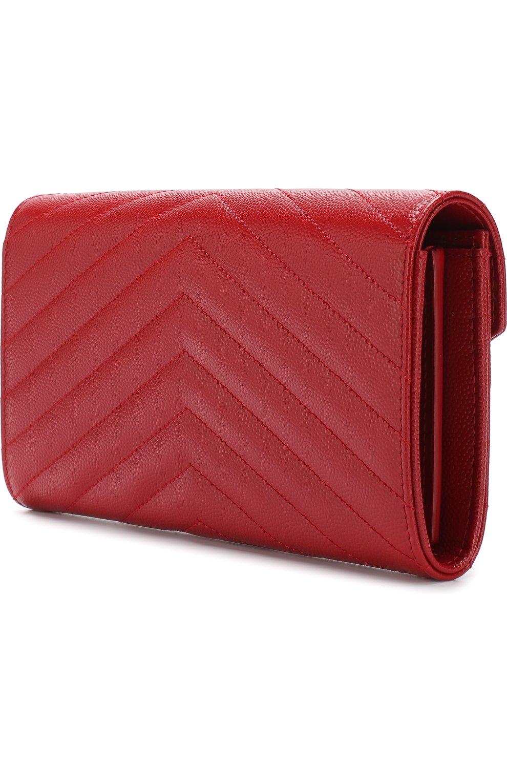 Кожаное портмоне Monogram Saint Laurent красного цвета | Фото №2
