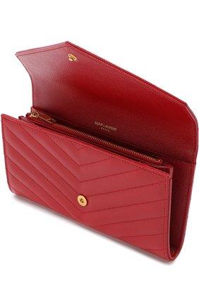 Кожаное портмоне Monogram Saint Laurent красного цвета | Фото №3