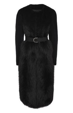 Меховое пальто с поясом Blancha черная | Фото №1