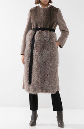 Меховое пальто с поясом Blancha серая | Фото №1