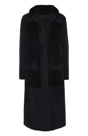 Меховое пальто с накладными карманами Blancha синяя | Фото №1