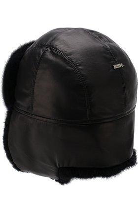 Мужская меховая шапка-ушанка ZILLI темно-синего цвета, арт. HZ0RS0-01005/00K0 | Фото 4