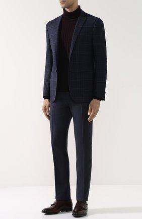 Шерстяной свитер фактурной вязки с воротником-стойкой Eleventy UOMO бордовый   Фото №1