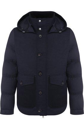 Утепленная куртка на молнии с меховой отделкой воротника Cortigiani темно-синяя | Фото №1