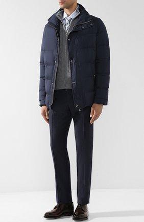 Утепленная стеганая куртка на молнии с воротником-стойкой Cortigiani черная | Фото №1