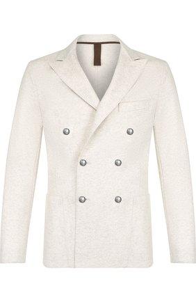 Двубортный шерстяной пиджак Eleventy UOMO белый   Фото №1