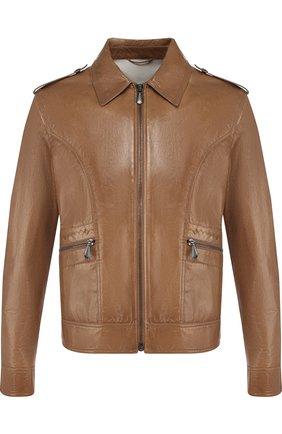 Кожаная куртка на молнии с отложным воротником | Фото №1