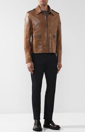 Кожаная куртка на молнии с отложным воротником | Фото №2