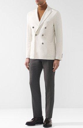 Брюки прямого кроя из смеси шерсти и шелка Corneliani коричневые | Фото №1