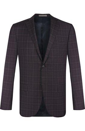 Однобортный шерстяной пиджак Corneliani бордовый | Фото №1