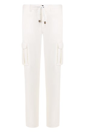 Хлопковые брюки прямого кроя с поясом на резинке Eleventy UOMO белые   Фото №1