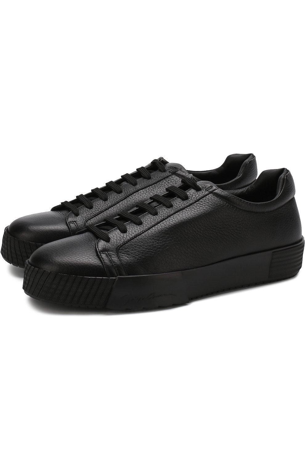 Мужские кожаные кеды на шнуровке GIORGIO ARMANI черного цвета, арт. X2X082/XF224   Фото 1