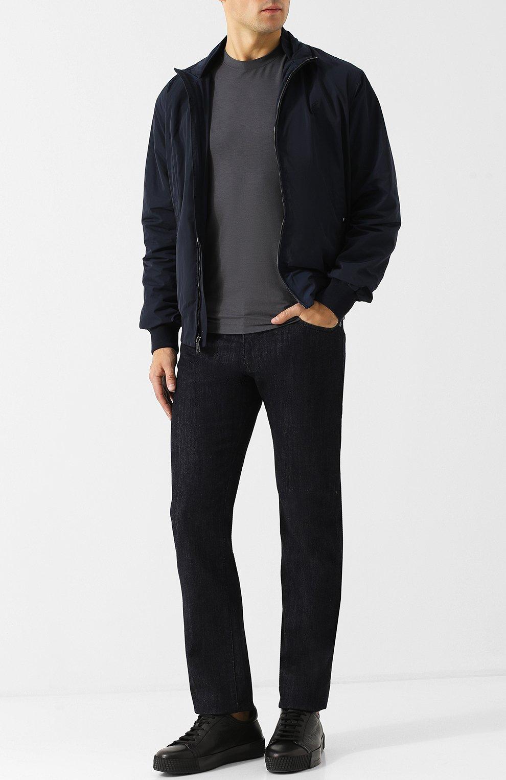 Мужские кожаные кеды на шнуровке GIORGIO ARMANI черного цвета, арт. X2X082/XF224   Фото 2