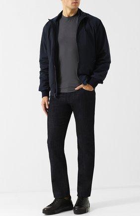 Мужские кожаные кеды на шнуровке GIORGIO ARMANI черного цвета, арт. X2X082/XF224 | Фото 2
