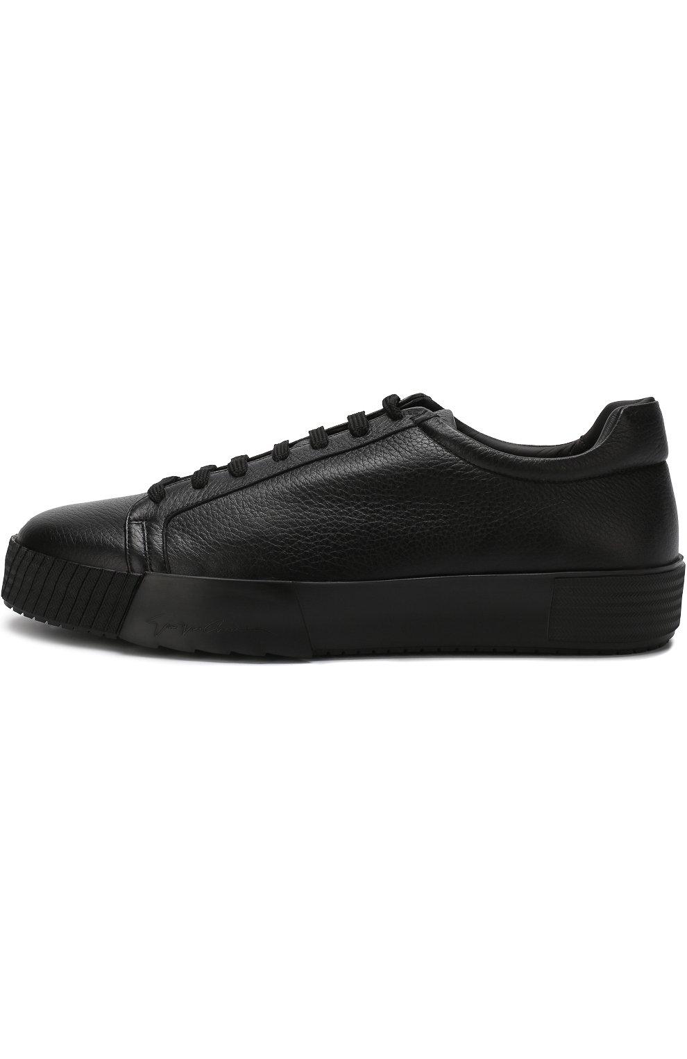 Мужские кожаные кеды на шнуровке GIORGIO ARMANI черного цвета, арт. X2X082/XF224   Фото 3