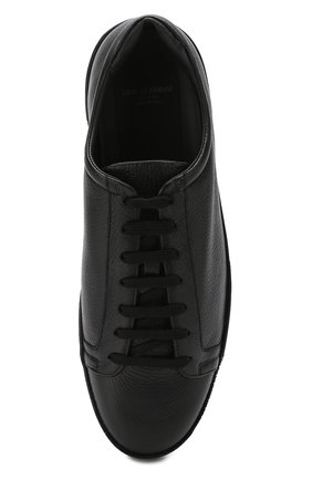 Мужские кожаные кеды на шнуровке GIORGIO ARMANI черного цвета, арт. X2X082/XF224   Фото 5