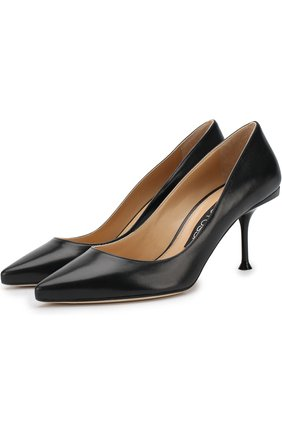 Кожаные туфли на шпильке Sergio Rossi черные | Фото №1